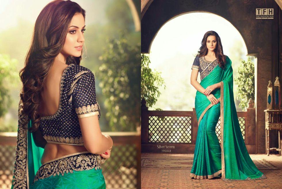 silver screen party wear saree 19003