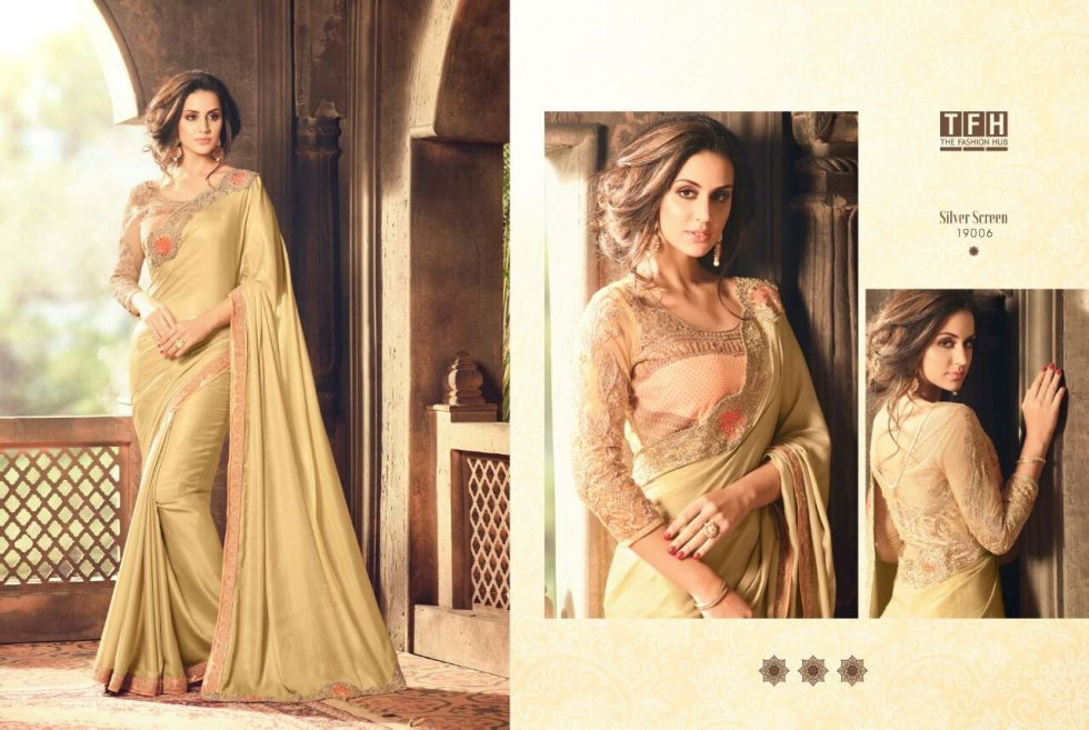 silver screen party wear saree 19006