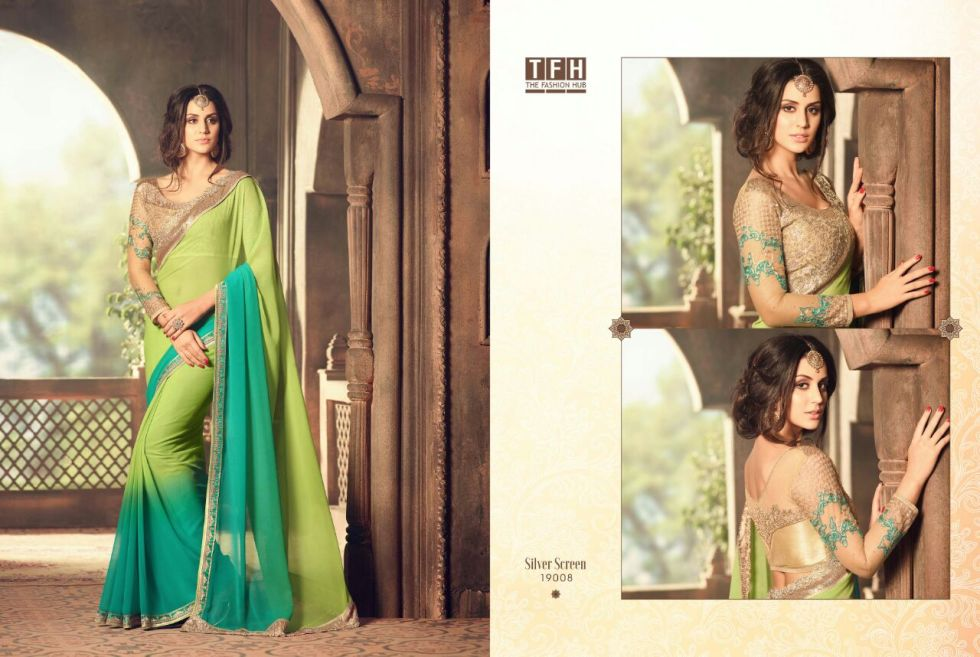 silver screen party wear saree 19008
