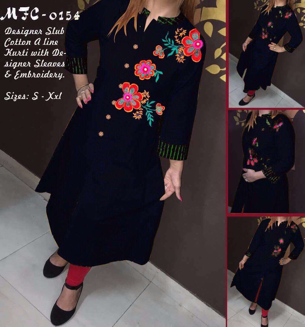 Designer Slub Cotton A Line Selfie Kurti MFC 0154