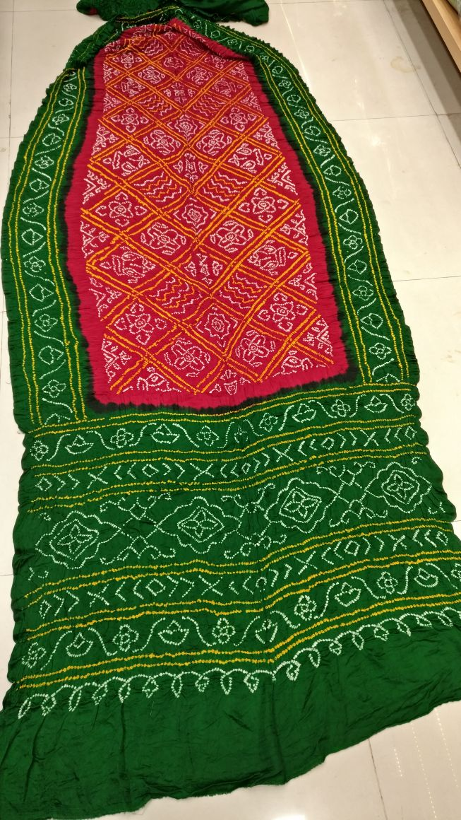 Shop Kutch Famous Gajji Silk Beautiful Bandhej Saree Online