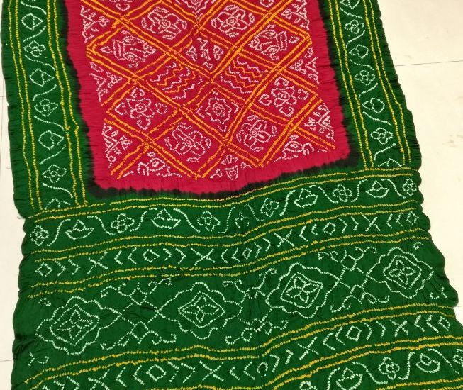 Shop Kutch Famous Gajji Silk Beautiful Bandhej Saree Online