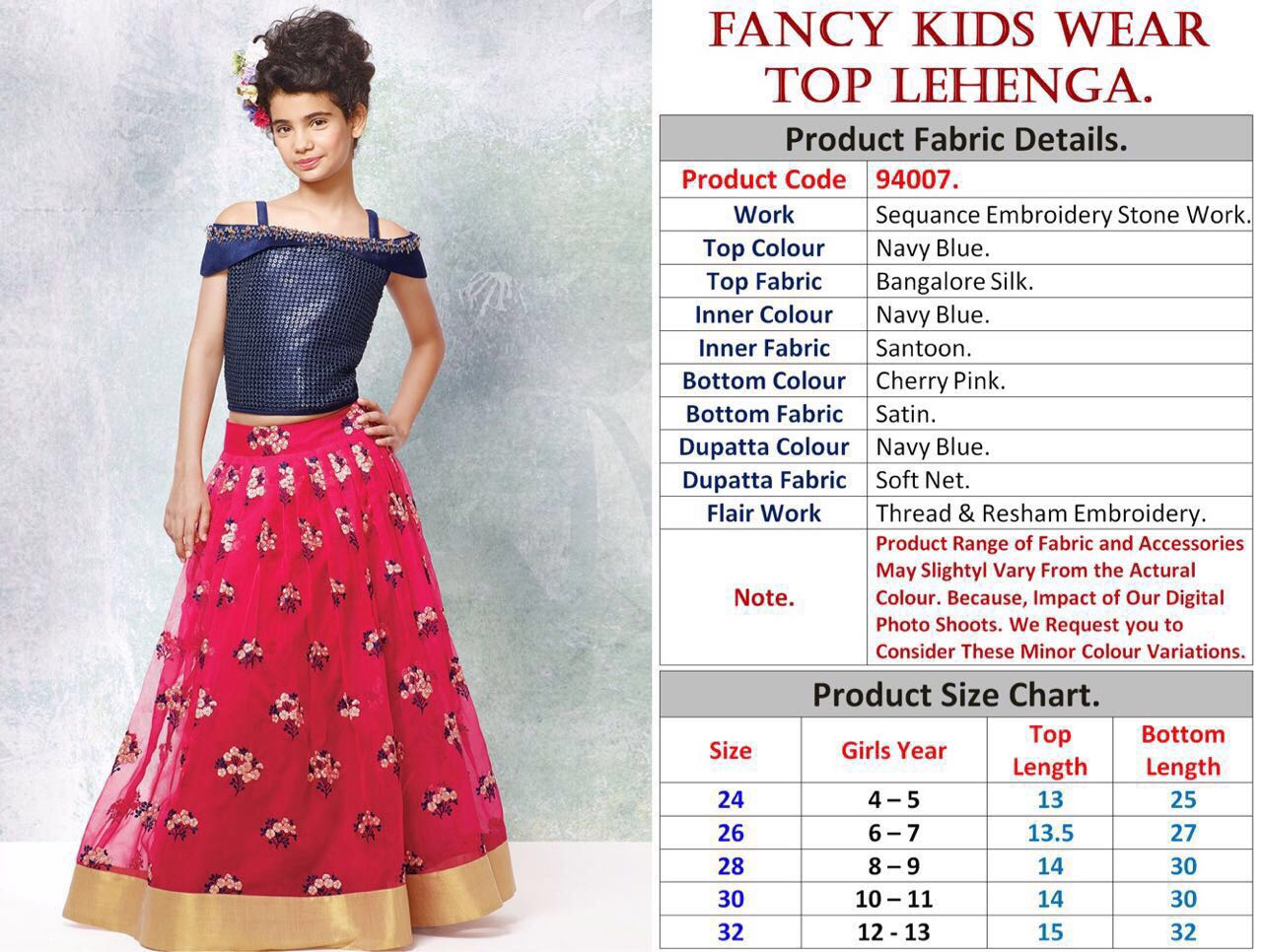 Navy Blue and Cherry Pink Designer Kids Wear Lehenga