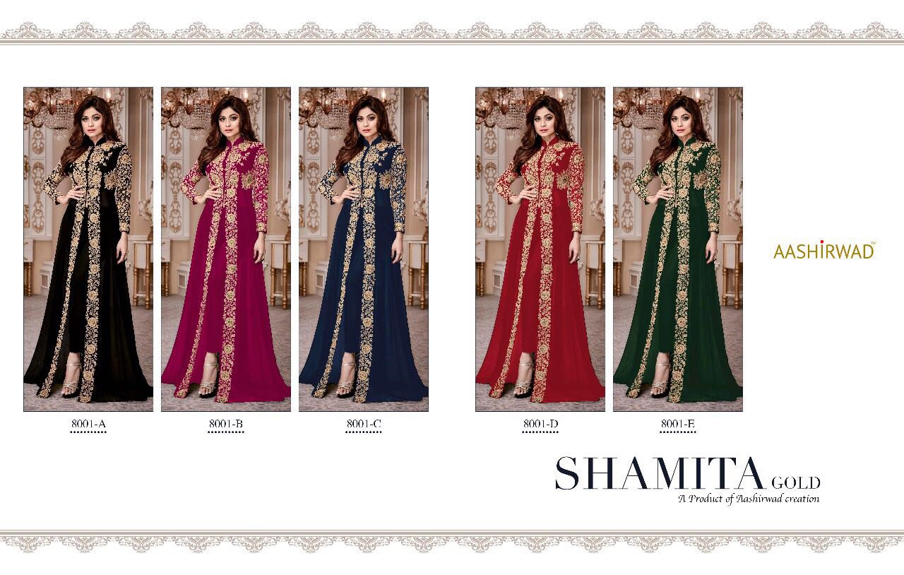 Shop Shamita Gold Front Open Salwar Suit 8001 Colored Collections Online