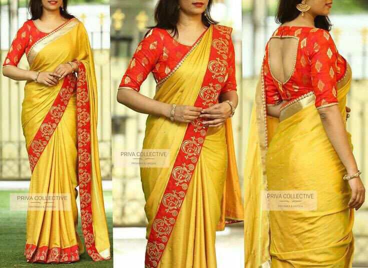 South Special Paper Silk Saree with Brocket Blouse