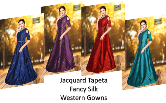 Jacquard Tapeta Fancy Silk Western Gowns