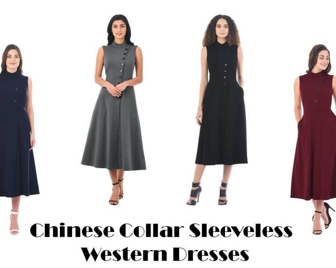 chinese collar sleeveless western dresses
