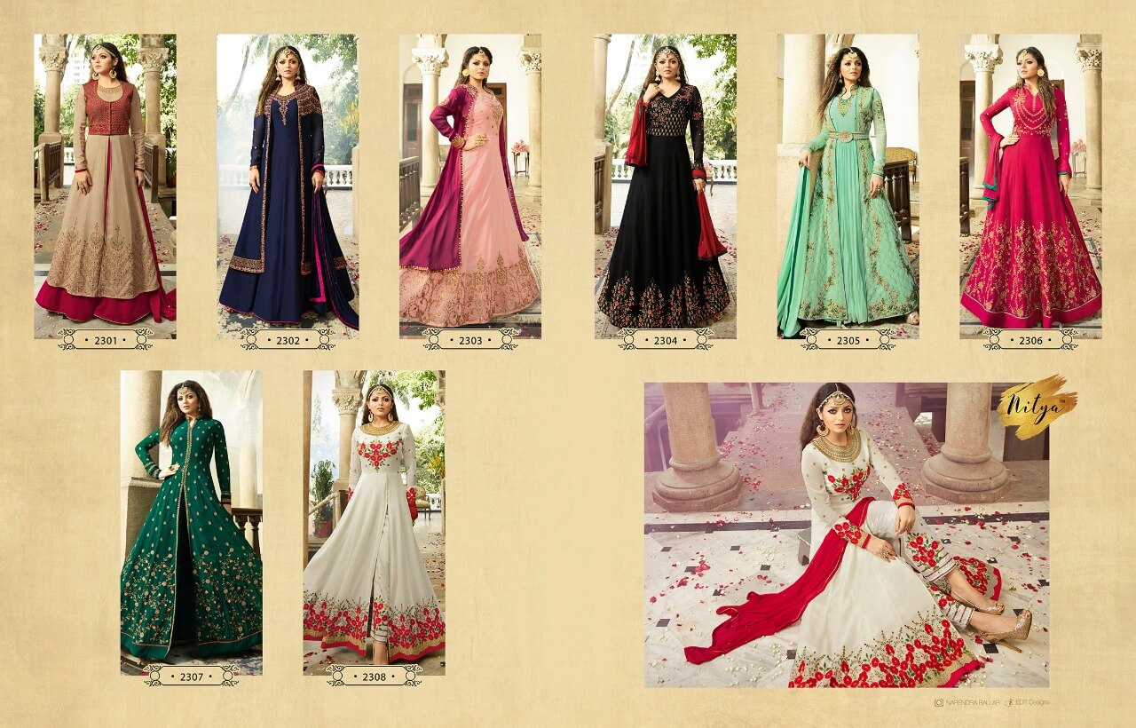 LT Fabric Presents Nitya Prem 113 Designer Anarkali Floor Length Gowns Full Set