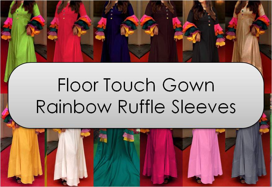 Floor Touch Gown Rainbow Ruffle Sleeves