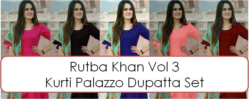 Shop Kurti Palazzo Pants Dupatta Sets Rutba Khan vol 3 Online