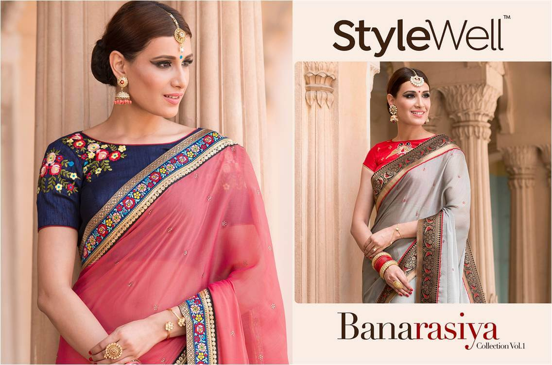 37c692ad6ba7b Shop Partywear Chiffon Saree StyleWell-Banarasiya-Vol-1 Online ArtistryC