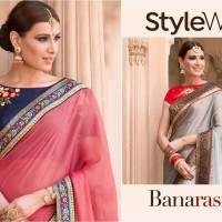 Shop Partywear Chiffon Saree StyleWell-Banarasiya-Vol-1 Online