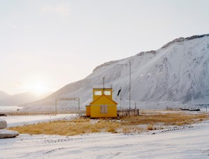 Yellow house in Pyramiden, Svalbard