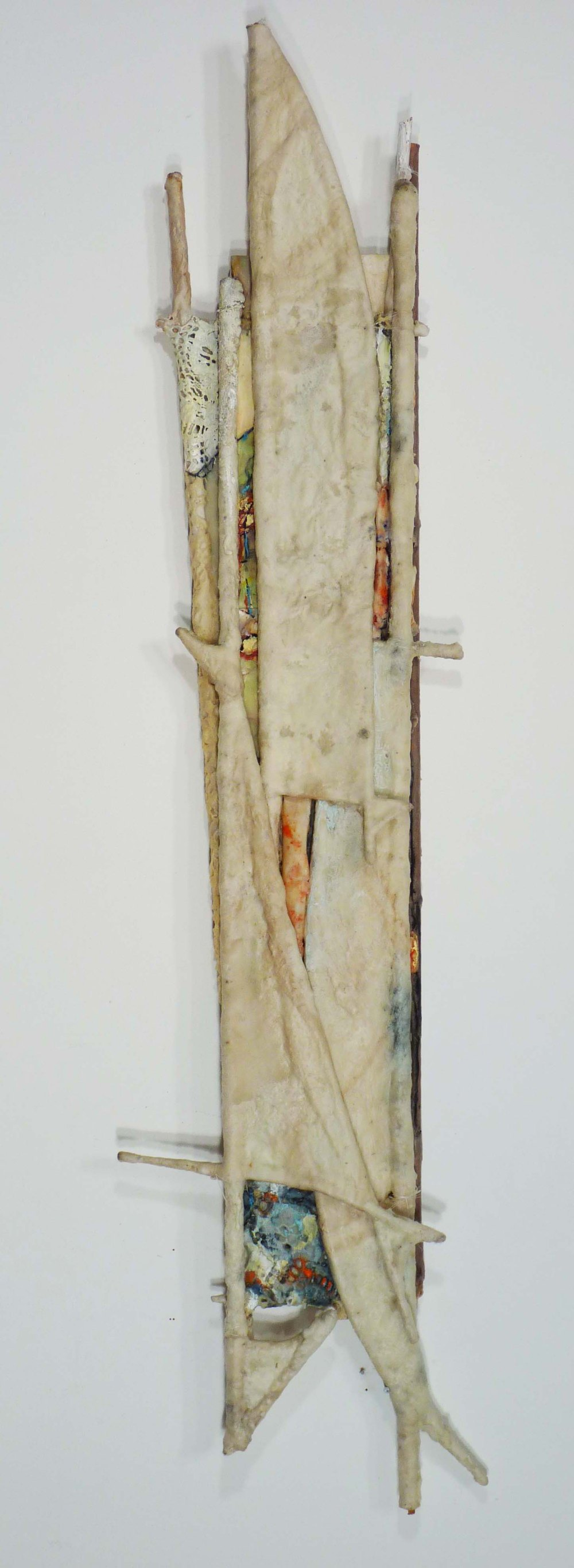 Tree Form I: 5' x 2', felt, paper, wax, oil, lace, wood.