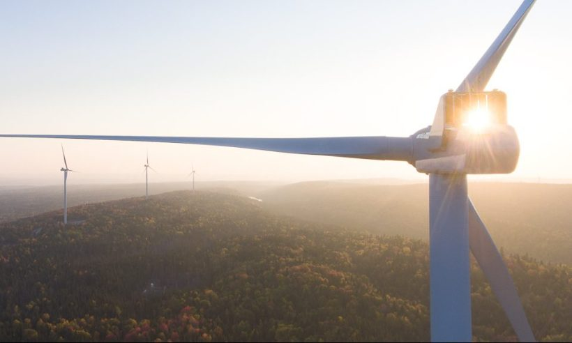 wind, energy, renewable, drone, aerial, sun, sunset