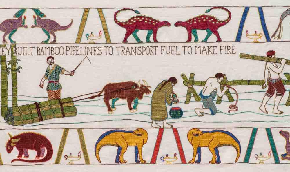 Sandra, Sawatzky, embroidery, tapestry, Bayeux, Black Gold, history, oil, Alberta, Canada, textile, art