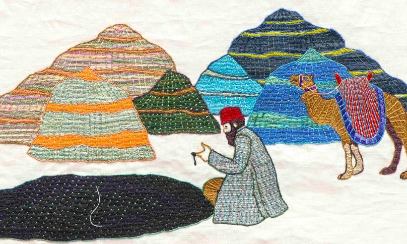Sandra Sawatzky, tapestry, embroidery, textile, oil, Bayeux, Black Gold Tapestry, Alberta