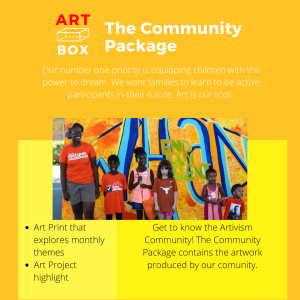 The image describes the contents of the Art Subscription Box