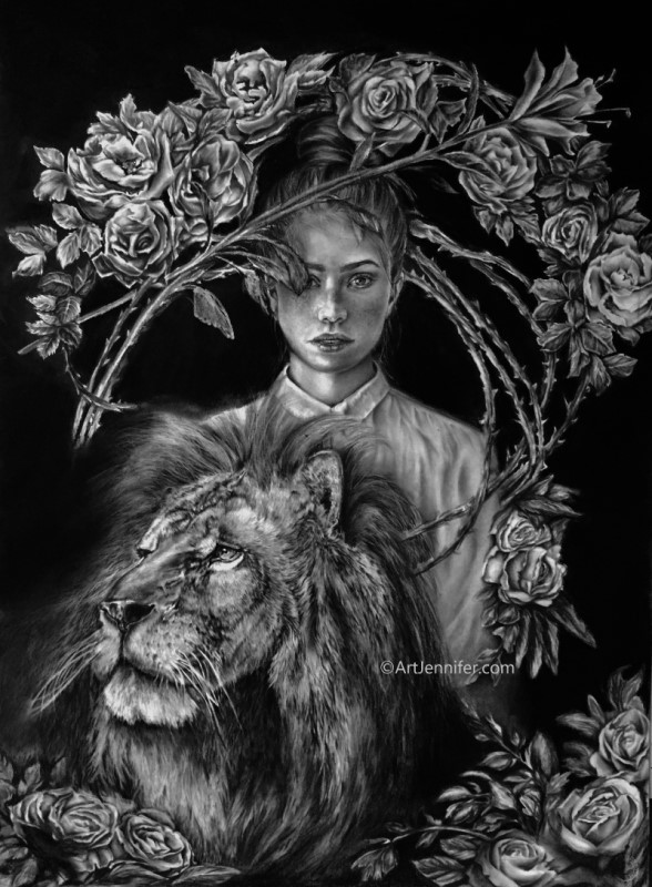 Fortitude - girl and lion drawing