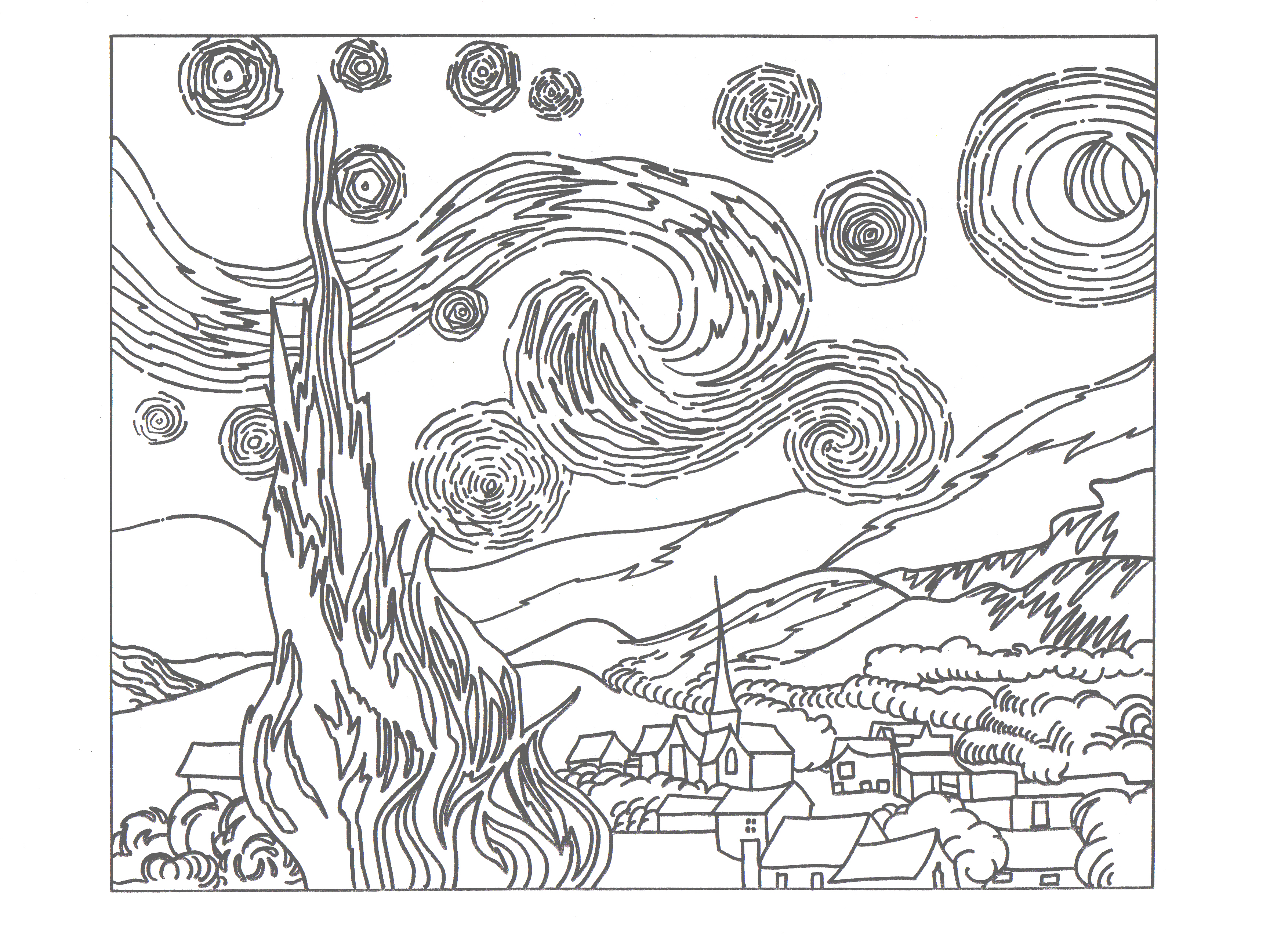 Free Worksheet Henry And Mudge And The Starry Night Worksheets starry night coloring page pages by van gogh colouring