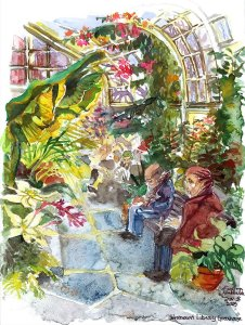 Westmount Library Greenhouse in Montreal watercolour painting
