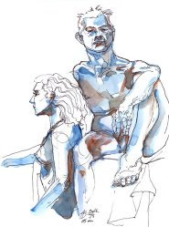 blue figure drawing watercolour