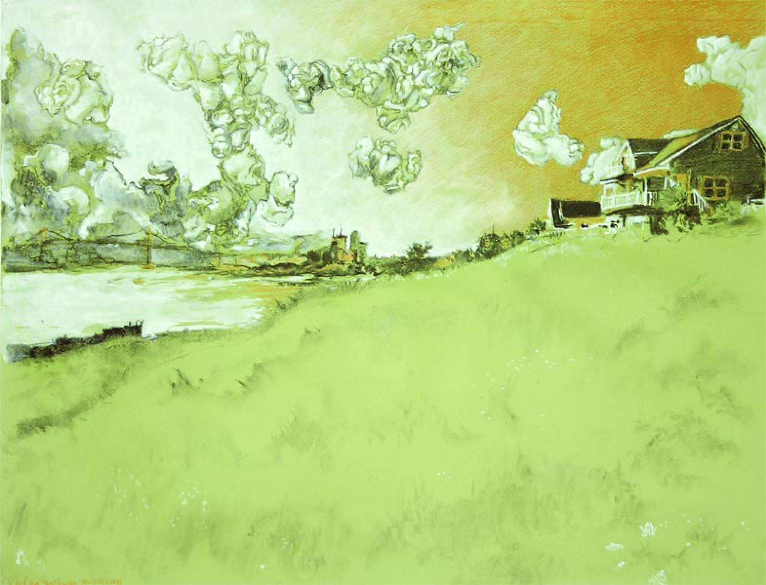 green landscape drawing
