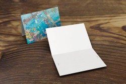 greeting card or note card featuring watercolor coral seascape, welding diver, fish, blank card interior