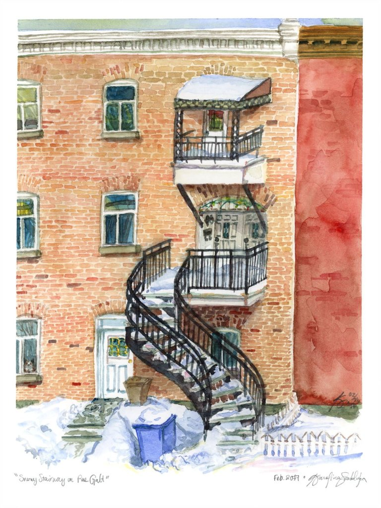 verdun townhouse watercolour painting