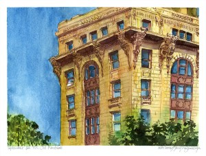 yellow glowing old building in old montreal watercolour painting