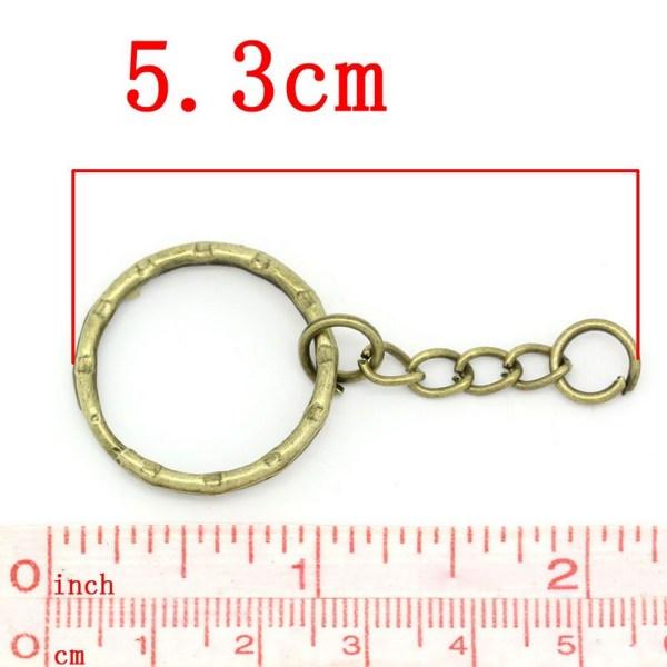 Porte-clés bronze à anneaux 53mm - lot de 5