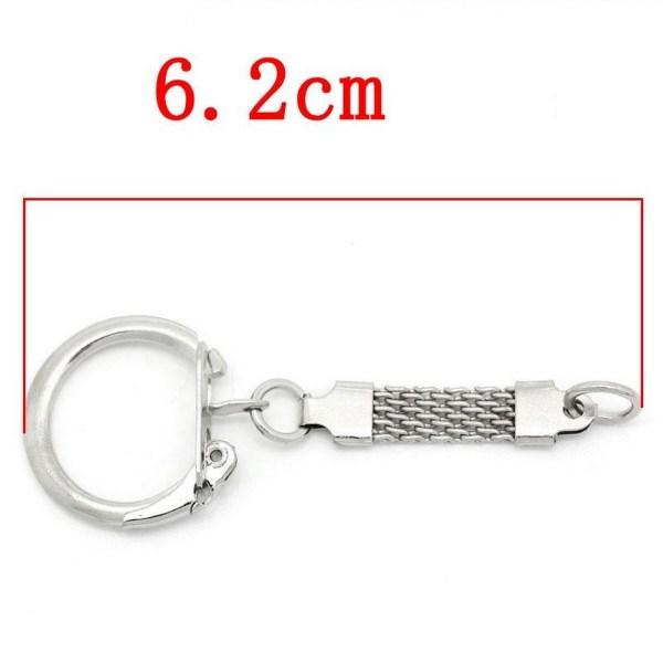 Porte-Clés à clips argenté 60mm avec chaînette et anneaux de jonction - lot de 4