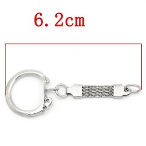 Porte-Clés à clips argenté 60mm avec chaînette et anneaux de jonction – lot de 4