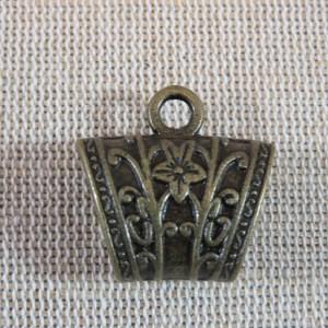 Bélières gravé fleuri bronze apprêt métal pour bijoux – lot de 2