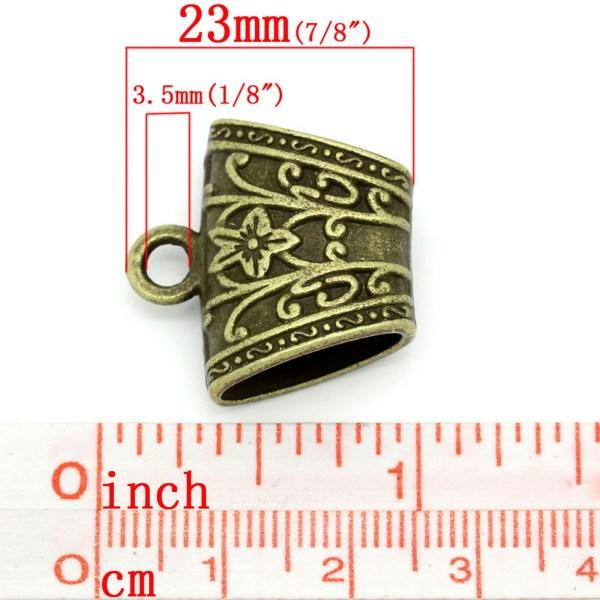 Bélières gravé fleuri bronze apprêt métal pour bijoux - lot de 2