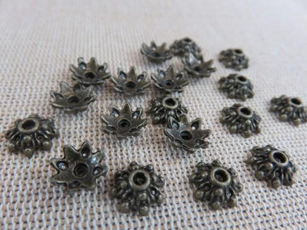 Coupelles fleur bronze 9mm apprêt pour bijoux - lot de 25