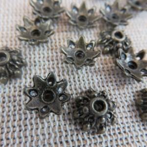 Coupelles fleur bronze 9mm apprêt pour bijoux – lot de 20