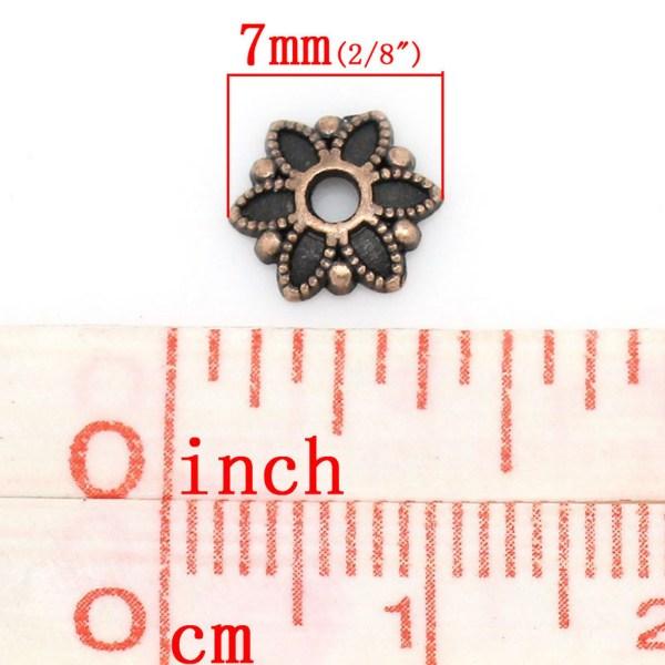 Coupelles fleur cuivré en métal 7mm - lot de 40