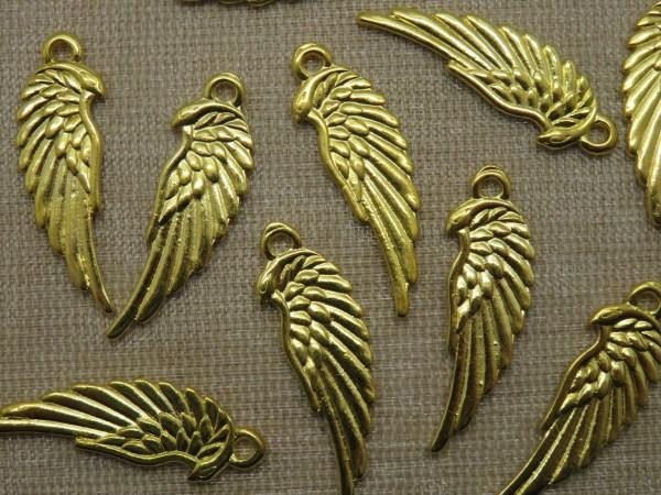 Pendentifs Aile d'Ange doré en métal 33mm - lot de 10