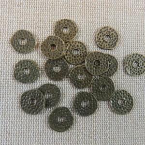 Perles rondelle martelé bronze 11mm coupelle intercalaire – lot de 15