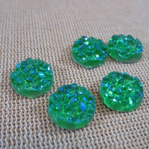 Cabochons druzy vert 12mm rond en résine – lot de 10
