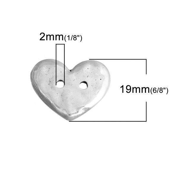Boutons cœur argenté effet martelé 19x16mm - lot de 5 bouton de couture