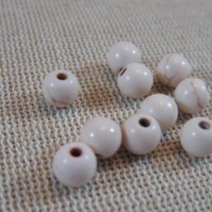 Perles Howlite beige 6mm effet pierre turquoise ronde – lot de 20
