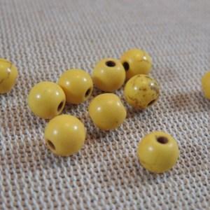 Perles Howlite jaune effet pierre turquoise 6mm ronde – lot de 20