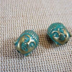 Perles Bouddha bronze patiné 11mm – lot de 5 Tête de Bouddha