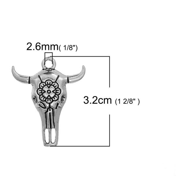 Pendentif tête buffle argenté 32mm breloque taureau corne