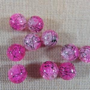 Perles en verre rose craquelé tréfilé noir 10mm – lot de 15