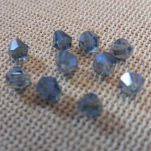 Perles de verre bicône bleu facetté 4mm – lot de 25