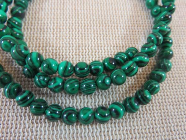 Perles Malachite synthétique 4mm verte rayé noir - lot de 10