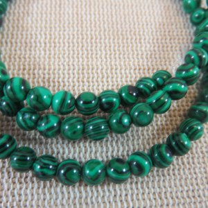 Perles Malachite synthétique 4mm verte rayé noir – lot de 10